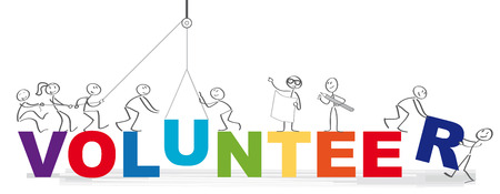 Volunteering team and the word volunteer vector illustration concept - Group of diversity people volunteer Illustration