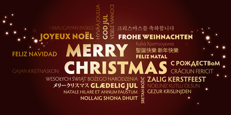 merry christmas greeting card with golden letters in different languages on brown background  イラスト・ベクター素材