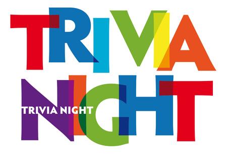 Trivia-Nacht. Vektorillustrationsbuchstabenfahne, bunte Ausweisillustration auf weißem Hintergrund