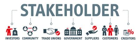 Vektor-Illustrationskonzept Beziehung von Stakeholdern, von Investoren, Regierung und Gläubigern