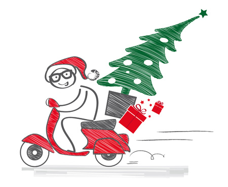 Santa Claus drives a moped and carries Christmas tree and presents