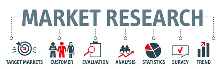 Banner Market research - information about target markets or customers. Vector Illustration concept with icons
