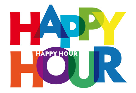 Happy hour Vector illustration letters banner, colorful badge illustration on white background