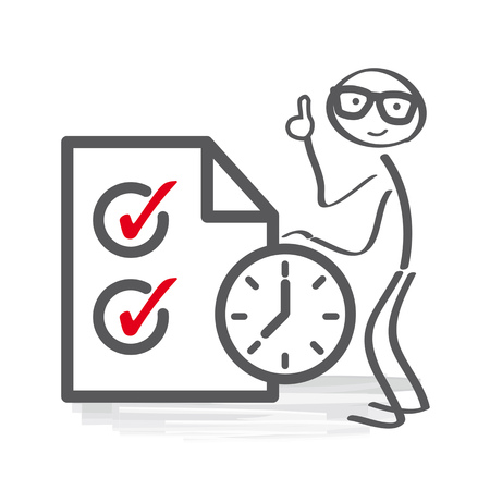Time management - A man stay near giant clipboard. Successful business concept Illustration