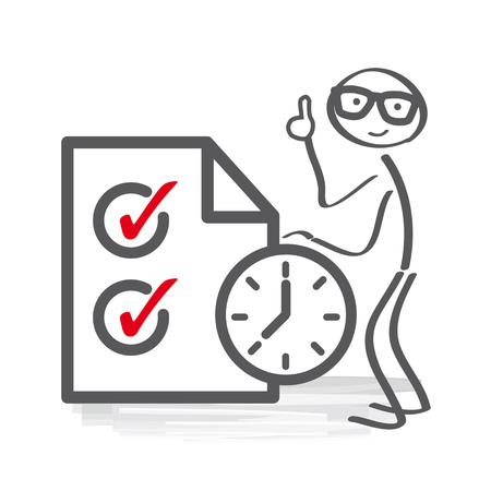 Zeitmanagement - Ein Mann bleibt in der Nähe einer riesigen Zwischenablage. Erfolgreiches Geschäftskonzept