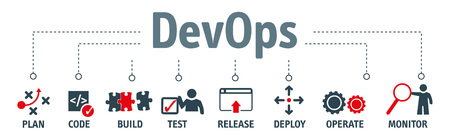 Banner of DevOps concept. Software engineering culture and practice of software development and software operation. Vector Illustration Çizim