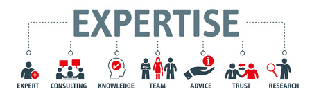 """Expertise - jeu d'icônes avec les mots """"expert, conseil, connaissance, équipe, conseil, confiance et recherche"""" - concept d'illustration vectorielle"""