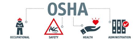 OSHA - Amministrazione della salute e della sicurezza sul lavoro - Insegna di concetto dell'illustrazione di vettore con le icone e le parole chiavi