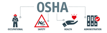 OSHA - Occupational Safety and Health Administration - Vector Illustration concept banner with icons and keywords Stockfoto - 117447610