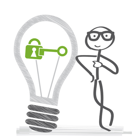 copyright - Intellectual property vector illustration concept. Stick figure with light bulb and padlock
