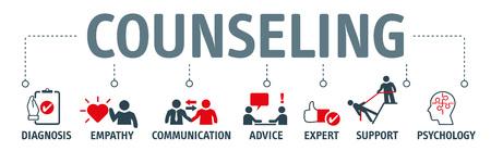 Concepto de ilustración de vector de asesoramiento de banner. Concepto de terapia, diagnóstico, empatía, asesoramiento y apoyo con iconos