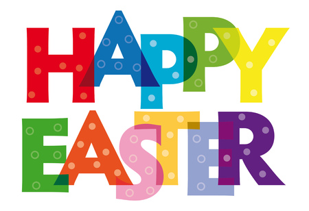 Happy Easter Vector illustration letters banner, colorful badge illustration on white background