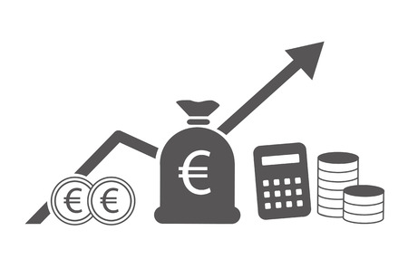 Finance and business vector illustration concept. Investment graph and rows growth and of coins