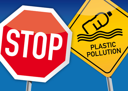 Stop ocean plastic pollution illustration concept - Plastic pollution in ocean environmental problem