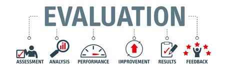 Concepto de evaluación de banner. Concepto de ilustración de vector de evaluación, análisis, rendimiento, mejora, resultados y retroalimentación.