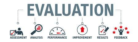 Concetto di valutazione banner. Valutazione, analisi, prestazioni, miglioramento, risultati e concetto di illustrazione vettoriale di feedback.