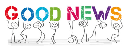 Stick figures holding the word Good News. Vector banner with the text §Good News
