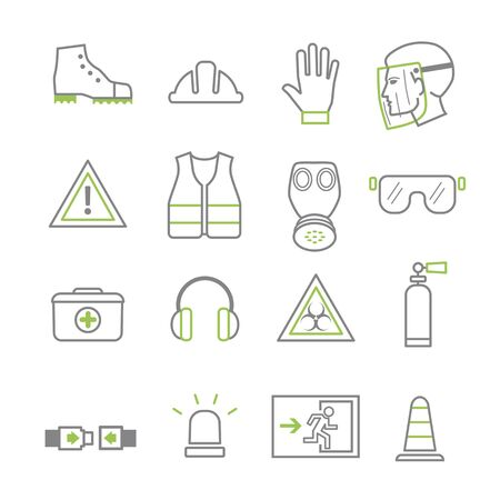 work safety and protection line icon set. Vector illustration icons, secutity, operational safety and first aid symbols