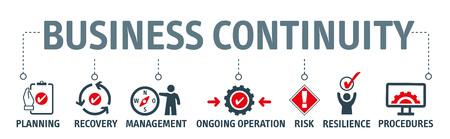 Bedrijfscontinuïteitsplanning - het proces van het creëren van systemen voor preventie en herstel om potentiële bedreigingen voor een bedrijf aan te pakken. Vectorillustratieconcept Vector Illustratie