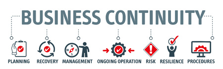 Pianificazione della continuità operativa: il processo di creazione di sistemi di prevenzione e ripristino per far fronte a potenziali minacce per un'azienda. Concetto di illustrazione vettoriale Vettoriali