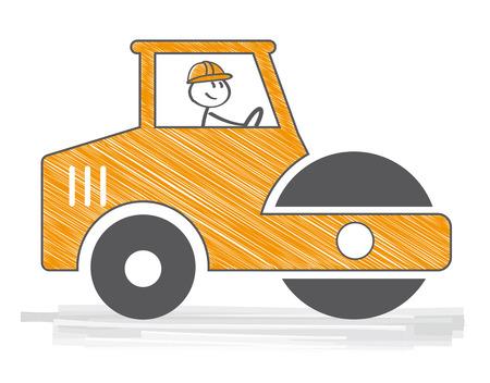 Rodillos de camino trabajando en el nuevo sitio de construcción de carreteras. Concepto de ilustración vectorial