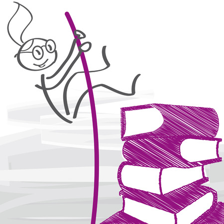 career and education - young girl is jumping over a stack of books. Vector illustration conceot