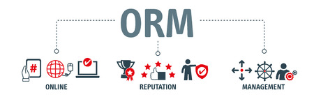 Banner Online Reputaion Management. ORM refers to the influencing and controlling of an individuals or groups reputation. Vector Illustration Concept
