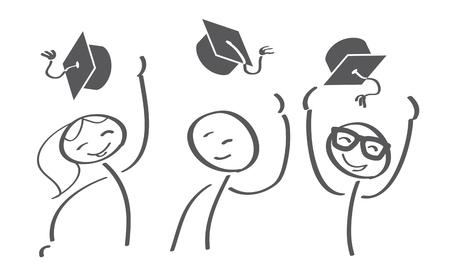 Graduation Caps Thrown in the Air Vector illustration concept Vettoriali