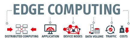 Banner EDGE Computing Information Technology Vector Illustration Concept mit Symbolen und den Schlüsselwörtern verteilte Computer, Anwendung, Geräteknoten, Datenvolumen, Verkehr, Kosten.