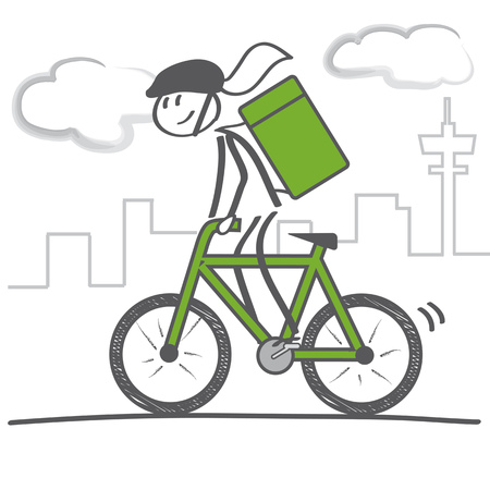 Bicycle delivery logistics courier. Bike messenger. Woman on bicycle with courier bag Vectores
