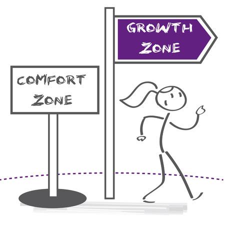 Vrouw verlaat haar comfortzone. Persoonlijke ontwikkeling, motivatie en uitdaging vector illustratie concept