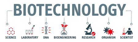 Biotechnology concept Vector Illustration. Horizontal banner. Contains icons bioengineering, DNA, Research, Science, laboratory  イラスト・ベクター素材