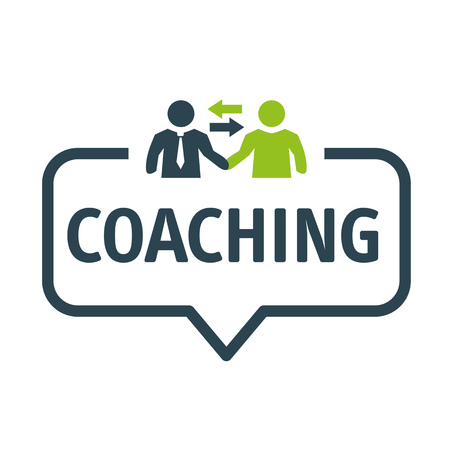 Coaching and Mentoring concept. Speech bubble Vector Illustration with icon