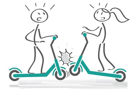 collision - have an accident - Two  figures driving electric scooters on sidewalk and collide. Vector illustration