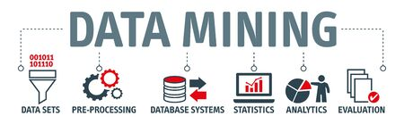 Data mining is the process of discovering patterns in large data sets - Banner with vector  icons and keywords