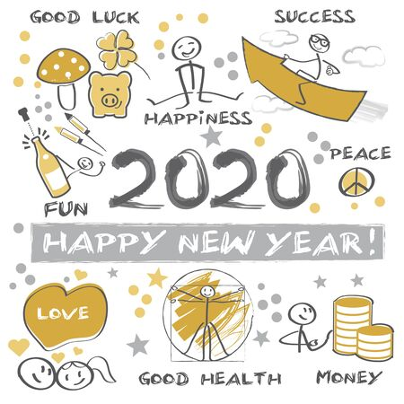 New Years Eve 2020 - Happy New Year 2020 Vector Illustration