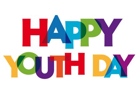 happy youth day Vector illustration letters banner, colorful badge illustration on white background