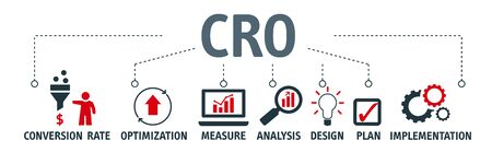 CRO - acronym of conversion rate optimization vector illustration concept with icons and keywords