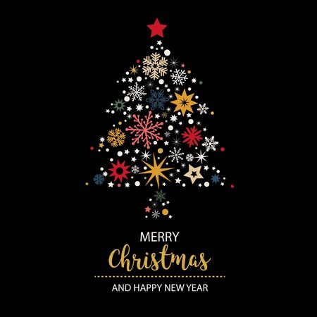Merry Christmas and happy new year - Christmas Tree with white and golden stars on black background vector illustration
