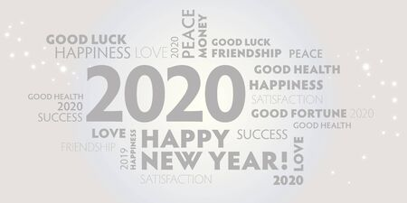 New Years Eve -  white and silver postcard happy new year 2020 vector illustration