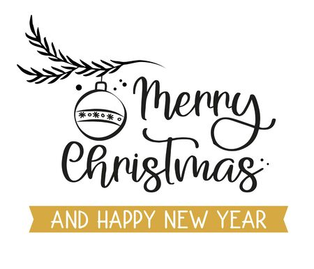 Merry Christmas Calligraphy. Merry Christmas Greeting Card. Black and Golden Typography on White Background with Christmas Symbols. Vector Illustration