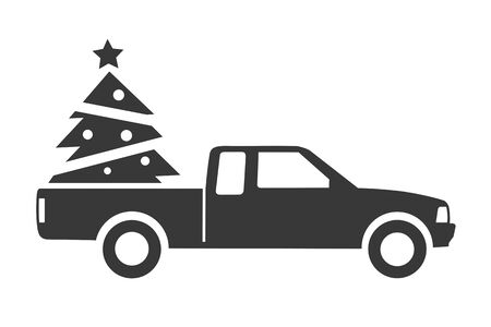 pickup truck with christmas tree icon vector on white background. Truck side view.