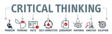 Concept d'illustration vectorielle de la pensée critique. Bannière avec icônes et mots-clés. La pensée critique est l'analyse des faits pour former un jugement Vecteurs