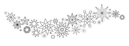 Christmas stars winter set of black isolated thin line geometric icon silhouette on white background