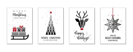 Royalty-free stock photo ID: 1553750813 Set of happy new year greeting cards. Four Vector Illustrations postcards with calligraphic decorative elements