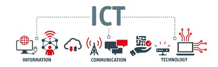 Information and Communications Technology (ICT) vector illustration icons concept