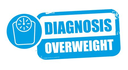 Diagnosis overweight. Grunge rubber stamp on white background. Design element Vector illustration concept