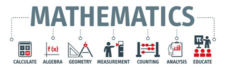 Banner mathematics concept. Calculate, Algebra, Geometry, Measurement, Analysis and Educate
