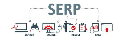 SERP Search Engine Result Page vector illustration concept - SERP are the pages displayed by search engines in response to a query by a searcher