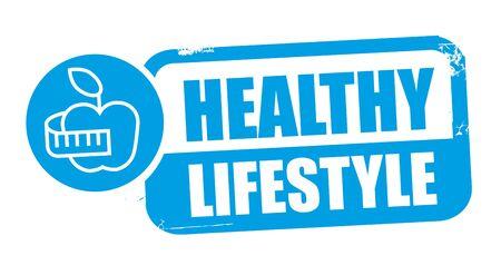healthy lifestyle,. Grunge rubber stamp on white background. Design element Vector illustration concept